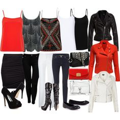 """""""Red Black White Mix and Match Set"""" by laura-blakney on Polyvore Red black white mix and match set skinny jeans pants skirt leather boots purse biker jacket zipper sequins flats high heels pumps stilettos sexy dressy casual summer fall winter spring wardrobe ideas"""