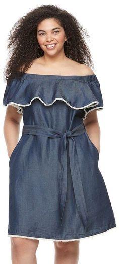 Chaya Plus Size Chaya Off-the-Shoulder Jean Dress