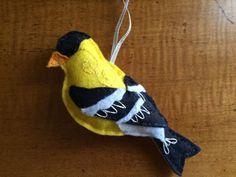 Items similar to Goldfinch Bird Ornament, Felt Bird Ornament, Gordon the Goldfinch Felt Bird, Felt Bird, Wreath Decoration on Etsy Felt Owls, Felt Birds, Felt Animals, Felt Diy, Handmade Felt, Felt Crafts, Diy Crafts, Bird Ornaments, Christmas Ornaments To Make