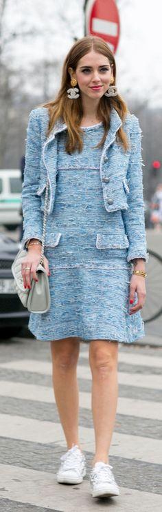 Paris Fashion Week street style: Chiara Ferragni wearing a blue tweed Chanel dress and jacket, a blue chanel bag and Chanel earrings