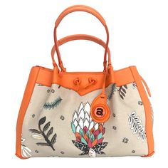 Ardmore Protea Fields Kingfisher Fabric Handbag with Orange Leather Trim. Height x Width x Depth. Fabric Handbags, Orange Leather, Kingfisher, Hand Bags, Fields, Accessories, Collection, Fashion, Fabric Purses