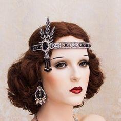 Flapper Hair, Flapper Headpiece, Black Fascinator, Fascinator Headband, 1920s Flapper, Great Gatsby Themed Party, The Great Gatsby, 20s Party, 1920s Fashion Women