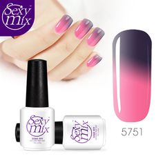 Sexy mix Pink Purple Colorful Temperature Color Change Gelpolish Chamelon Nail Art Gel Polish Cheap Price Popular Color UV Gel #Affiliate