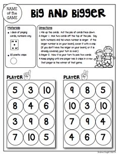 """Sample Math Game from """"Math Games for Kinder Partners"""" {20 Reproducible and Reusable Partner Games for Math Workshop, Centers, and/or Homework Fun with a Parent}  36 pages, $  #kindergarten  #mathgames"""