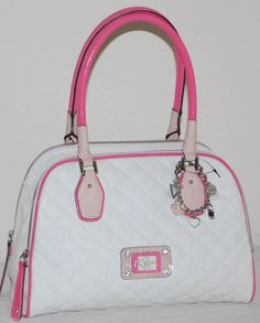 GUESS White Pink Quilted RIANNE CALI Satchel Handbag Purse + Bracelet Org. $128