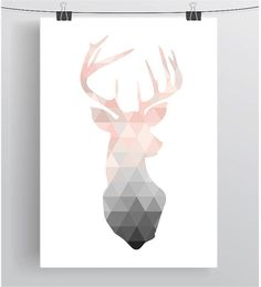find singles illustrations-poster/blush-deer-print-deer-wall-art-deer-poster-by-printavenue-on-etsy/ people Geometric Deer, Geometric Poster, Geometric Prints, Geometric Background, Geometric Patterns, Deer Wall Art, Triangle Print, Triangle Wall, Triangle Drawing