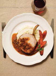 Carré de porc, sauce aux champignons blancs