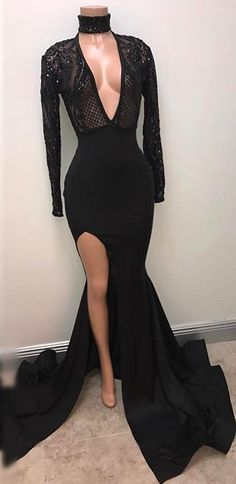 Black Split V-Neck Mermaid Long-Sleeve Sexy Prom Dress PT0318_High Quality Wedding Dresses, Prom Dresses, Evening Dresses, Bridesmaid Dresses, Homecoming Dress - 27DRESS.COM