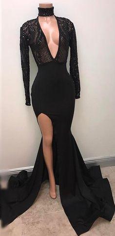 Black Split V-Neck Mermaid Long-Sleeve Sexy Prom Dress