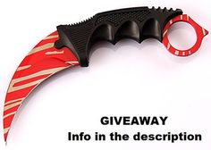 CS:GO Karambit Red Tiger Tooth Knife Stainless Steel by PokeNeeds