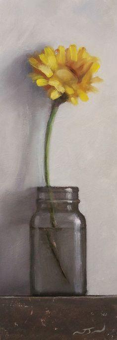 Original Oil Painting - Yellow Flower - Contemporary Still Life Art - Nelson