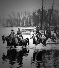 A group of German soldiers on horseback. Germany fielded several divisions of cavalry in the Wehrmacht, and also in the SS. The Florian Geyer SS division was famous, and was eventually decimated in Russia and Hungary toward the end of the war.