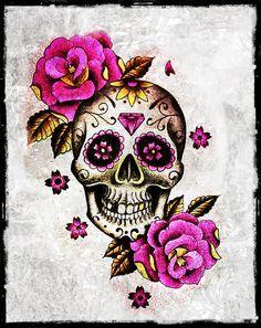 Image result for sugar skulls flowers tattoos