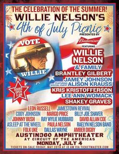 willie nelson july 4th 2016