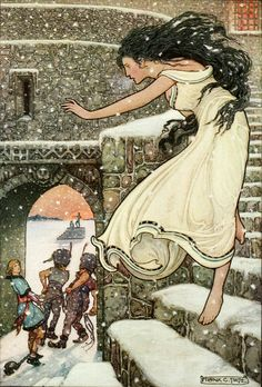 'Then the Princess ran with her feet all bare into the open corridor'. Frank Cheyne Pape (Papé) illustration from 'The Russian Story Book' (1916).