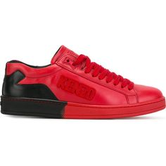 Kenzo Tenniz sneakers ($310) ❤ liked on Polyvore featuring men's fashion, men's shoes, men's sneakers, red, mens red leather shoes, mens leather sneakers, mens lace up shoes, mens red sneakers and kenzo mens shoes