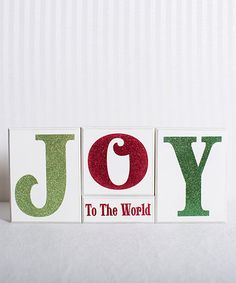 Another great find on #zulily! 'Joy to the World' Block Sign Set #zulilyfinds