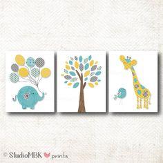 Nursery Art print Elephant Giraffe Bird Tree por StudioMBKprints