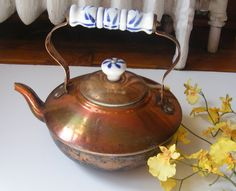 Copper Tea Kettle Ceramic Handles by GSArcheologist on Etsy, $20.00