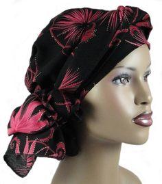 Head Wrap Turban Alopecia Chemo Head Scarf Pink Black. $44.95, via Etsy.