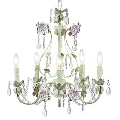 Flower Garden Chandelier Pink and Green [JB-7469] - $359.00 : The Painted Cottage, Vintage Painted Furniture