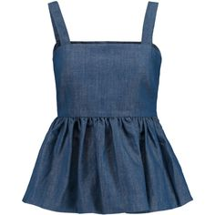 Co Cotton and linen-blend chambray peplum top (€170) ❤ liked on Polyvore featuring tops, shirts, bright blue, blue peplum shirt, fitted shirts, loose fitting shirts, loose fitted tops and blue chambray shirt