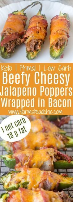 With only ONE net carb and 18g fat, these cheesy bacon-wrapped Low Carb, Keto Jalapeño Poppers are a keto-dieter's dream. They require only 8 ingredients and half an hour. Gluten-free, grain-free with a dairy-free, Whole30 and Paleo option too! The perfect finger food or appetizer!