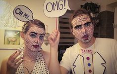 comic couple costume & makeup
