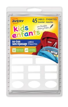 Avery No-Iron Clothing Labels, White, Assorted, Pack of 45 (40700 ...