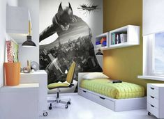 batman themed room with yellow accessories