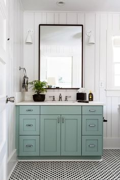 House of Turquoise: Cortney Bishop Design paint: blue green farrow and ball, tile floor mirror and sconces
