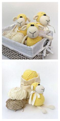 Amigurumi Sleeping Lamb Free Pattern – Free Amigurumi Patterns Crochet Baby Toys, Crochet For Kids, Crochet Animals, Crochet Dolls, Free Crochet, Amigurumi Doll, Amigurumi Patterns, Crochet Patterns, Knitted Stuffed Animals