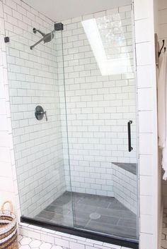 25 ideas for bathroom shower floor tile master bath White Subway Tile Shower, Subway Tile Showers, Shower Floor Tile, Subway Tiles, White Shower, Slate Shower Tile, Small Tile Shower, Tiled Showers, Glass Showers