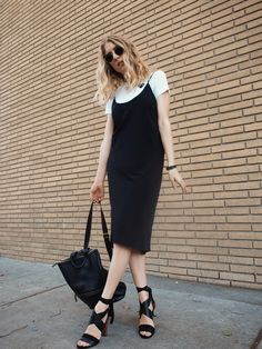 Comme des Garçons Basic Tee The Sept Label Slip Dress Vince Beatrice Sandal Hare+Hart Backpack Street Style Taylr Anne…