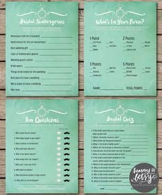 Mint Watercolor Bridal Shower & Wedding Game Suite INSTANT DOWNLOAD by HTBHandmade
