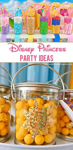 Are you looking for easy and creative Disney Princess party ideas? Are you looking for easy and creative Disney Princess party ideas? How about a princess candy buffet? These Disney Princess party ideas are just what you're looking for! Princess Birthday Party Decorations, Disney Princess Birthday Party, Princess Theme Party, Disney Themed Party, Disney Party Games, Disney Princess Food, Disney Princess Decorations, Pink Princess, Disney Cute