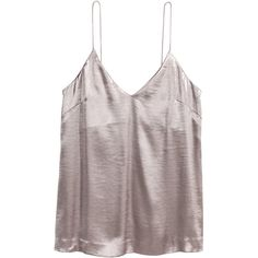 V-neck Camisole Top $12.99 (320 EGP) ❤ liked on Polyvore featuring tops, grey, tanks, strappy cami, v-neck tank, cami tank, h&m tank tops and cami tank tops