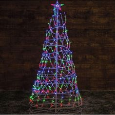 1.8m Multi Coloured Twinkling Spiral Tree