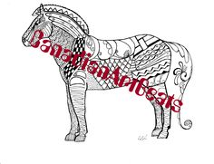Downloadable Fjord horse Zentangle inspired Coloring Page by CanadianArtBeats on Etsy