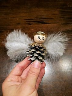 Christmas crafts for kids: Pinecone angel ornaments - DIY by Hanka - - . Christmas crafts for kids: Pinecone angel ornaments - DIY by Hanka - - basteln Kids Crafts, Pinecone Crafts Kids, Christmas Crafts For Kids To Make, Pine Cone Crafts, How To Make Ornaments, Kids Christmas, Kids Diy, Pinecone Decor, Pinecone Ornaments