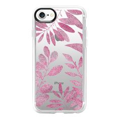 TROPICAL LEAVES - TRANSPARENT ROSE PINK SPARKLY - iPhone 7 Case And... (140 PLN) ❤ liked on Polyvore featuring accessories, tech accessories, iphone case, pink sparkly iphone case, sparkly iphone cases, apple iphone case, pink iphone case and clear iphone case