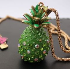 Betsey Johnson  $9.99 crystal Pineapple necklace & Free Gift #BetseyJohnson #Chain