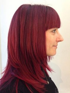 women redhead copper fringe hairstyle