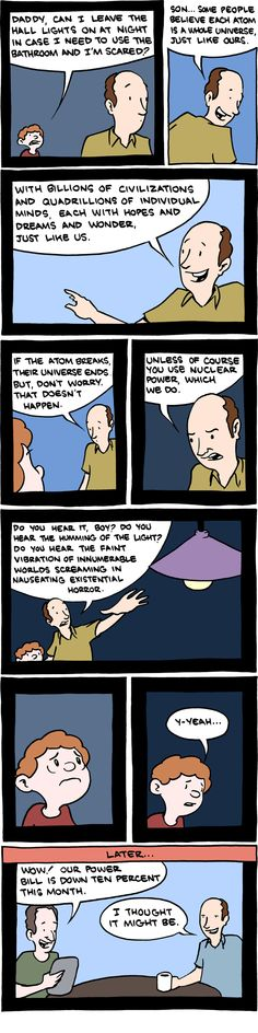 One of my many nightmares when I was little, thought I thought entire universes in footballs, not each atom - SMBC