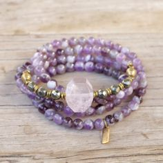 Amethyst and Rose Quartz Mala Bracelet. #amethyst #rosequartz #mala #converible #yoga #jewelry