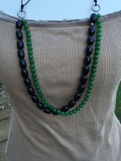 Gemstone Multistrand Necklace, Jade Green Black Obsidian Beaded Leather Necklace, Black Green Leather Necklace, Handmade Gemstone  Necklace by KBrownJewellery on Etsy
