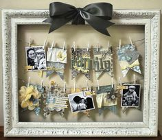 DIY: No hang-framed hanging pictures! Needed- Large frame, wire, mini-clothes pins, *ribbon for bow, pretty scraps of paper/cloth for decoration or Love Notes or Family Photos or Doodles! Get creative! Use in hobby room instead of cork board! Cute Crafts, Diy And Crafts, Paper Crafts, Recycled Crafts, Do It Yourself Quotes, Cadre Photo Original, Decoration Originale, Frame Crafts, Diy Frame