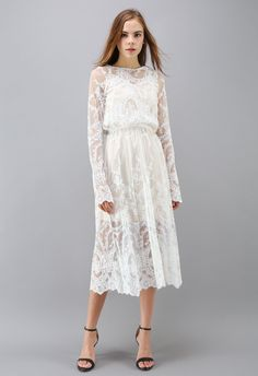 The Joy of Embroidery Mesh Midi Dress in White - Партия - Платья - Retro, Indie and Unique Fashion