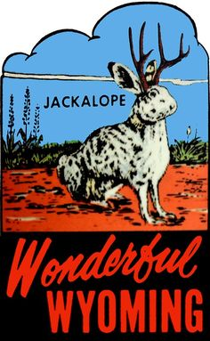 'Wyoming Jackalope Vintage Travel Decal' Sticker by Yellowstone National Park, National Parks, Vintage Magazine, Peel And Stick Vinyl, Cryptozoology, Illustrations, Vintage Travel, Wyoming, Childrens Books