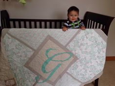 Baby quilt. For my adorable nephew. Personalized just for him. No pattern. Just made it.